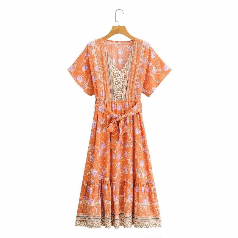 vestido estampado de manga corta con cuello en V NHAM314378