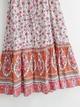 retro ethnic floral print laceup waist Vneck dress  NHAM314379