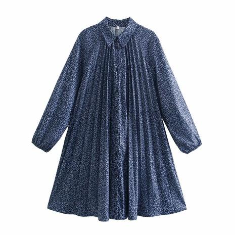 vestido camisero plisado con estampado de primavera NHAM314380's discount tags