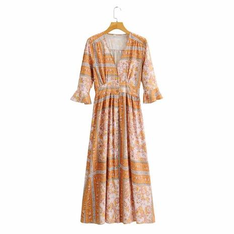 vestido floral de cintura alta y manga media NHAM314382's discount tags