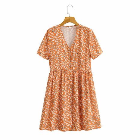 Vestido estilo cárdigan de manga corta con cuello en V y botonadura sencilla NHAM314383's discount tags