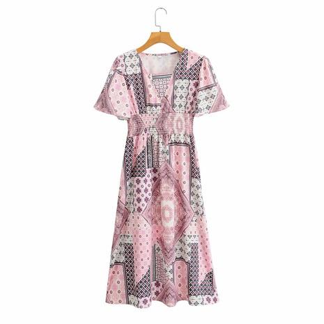 vestido de manga corta con estampado de cintura con cuello en V de longitud media NHAM314384's discount tags