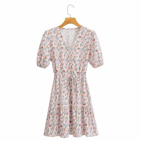 vestido de manga abullonada con cuello en V y lazo floral en la cintura NHAM314385's discount tags