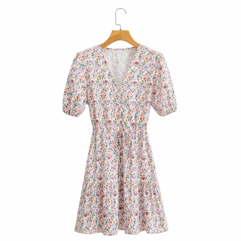 floral waist tie V-neck puff sleeve dress  NHAM314385