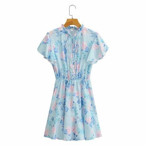 vestido con volantes y cuello redondo de encaje con estampado de flores NHAM314387's discount tags
