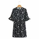 vestido estampado de lunares con cuello redondo y manga de loto NHAM314389