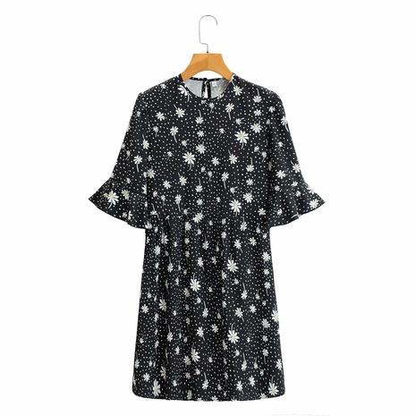 vestido estampado de lunares con cuello redondo y manga de loto NHAM314389's discount tags