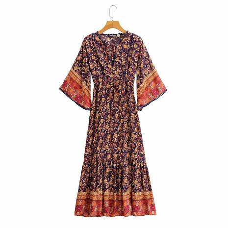 vestido estampado de manga corta con cuello en V de moda retro NHAM314391's discount tags