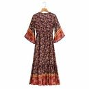 vestido estampado de manga corta con cuello en V de moda retro NHAM314391