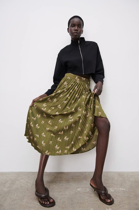 spring print pleated skirt   NHAM314396's discount tags