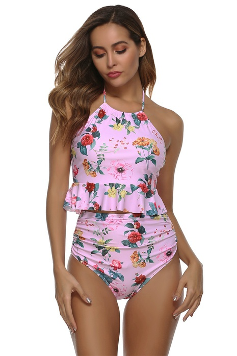 traje de baño de cintura alta con volantes sexy sin espalda con bolsillo NHHL314413's discount tags