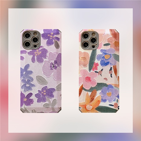 Korean retro oil painting flower phone case for iPhone8plus se2 XR NHFI314459's discount tags