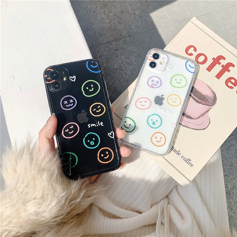 Simple smiling transparent mobile phone case for Apple se2 XR 8plus X NHFI314472's discount tags