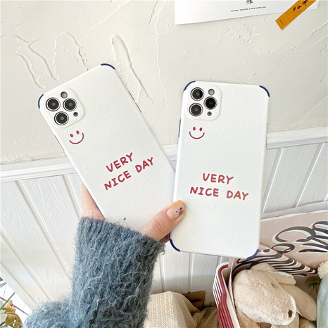 Simple English smiling face phone case for iPhone8plus XR se2 NHFI314474's discount tags