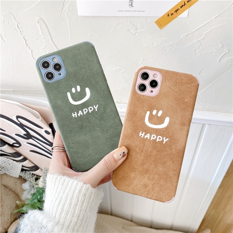 Korean cute leather smiling face mobile phone case for iPhone8plus XR NHFI314480's discount tags