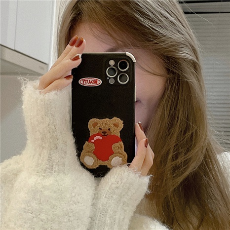 Korean plush embroidery love bear phone case for Apple se2 XR XS 8p NHFI314485's discount tags