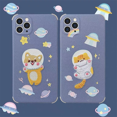 Embroidery cartoon space cat mobile phone case for iPhone8plus se2 XR XS NHFI314487's discount tags