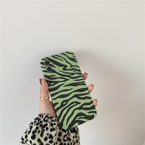 Korean green zebra pattern phone case for Apple 8plus se2 XR soft shell X NHFI314491's discount tags