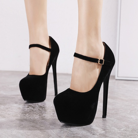black round toe buckle suede high heel shoes  NHSO314512's discount tags