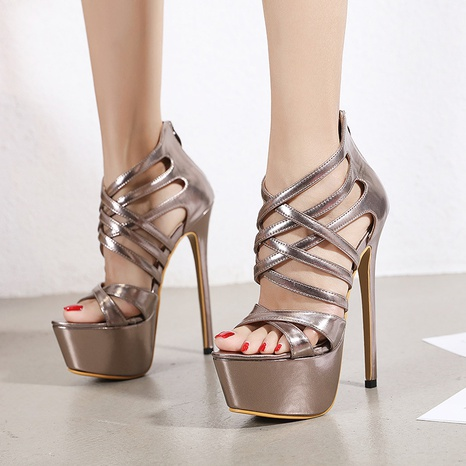 open toe stiletto cross strap sandals   NHSO314513's discount tags