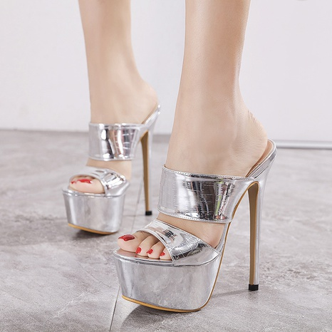 silver stiletto high heel platform sandals   NHSO314520's discount tags