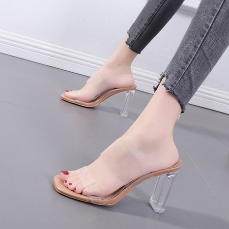 transparent high thick-heeled sandals   NHSO314525's discount tags