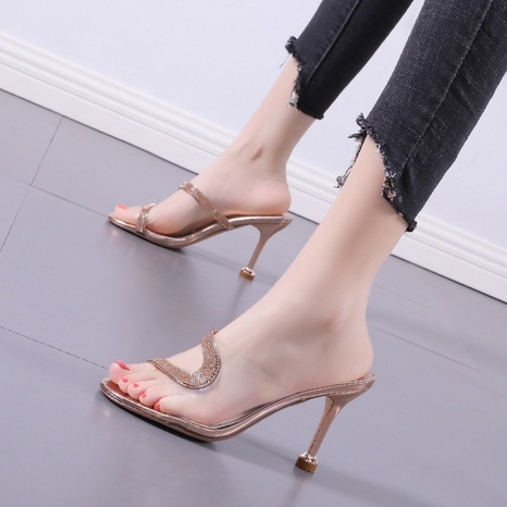 transparent rhinestone high-heeled sandals  NHSO314526's discount tags