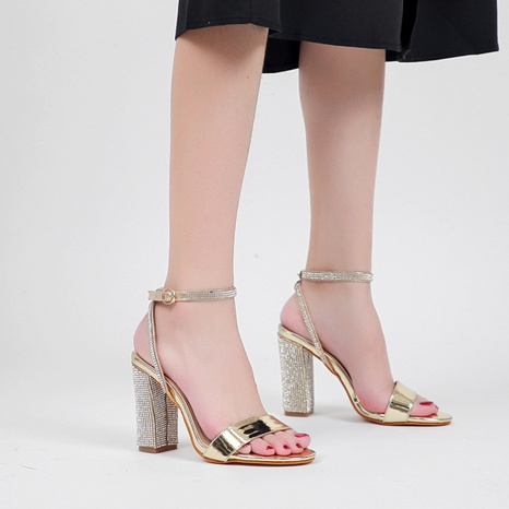 high-heeled rhinestone patent leather buckle open toe sandals  NHSO314529's discount tags