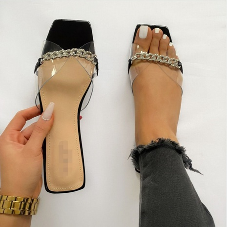 square-toe metal chain transparent sandals  NHSO314535's discount tags
