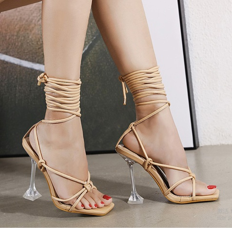 transparent wine glass high heels cross strap sandals  NHSO314542's discount tags