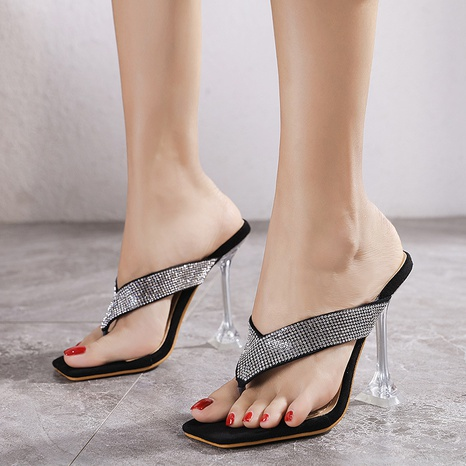 transparent rhinestone high-heeled sandals  NHSO314546's discount tags