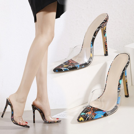 high-heeled transparent pointed toe color matching sandal  NHSO314547's discount tags