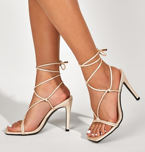 cross straps high-heeled satin sandals  NHSO314548's discount tags