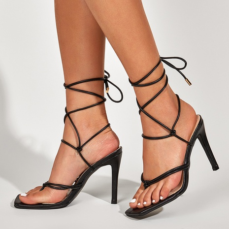 cross strap stiletto flip-flop sandals   NHSO314552's discount tags