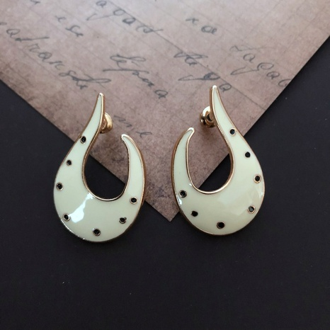 Milky white drip glaze crescent shape abstract earrings NHOM314564's discount tags