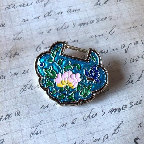 Peacock blue-green auspicious lock brooch  NHOM314573's discount tags