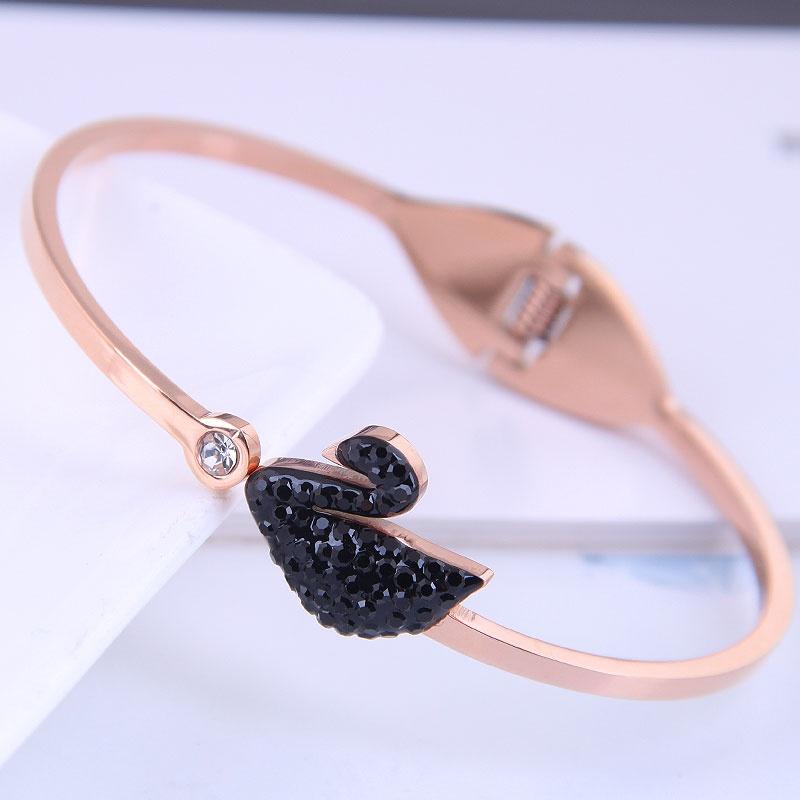 Bracelet cygne noir en acier titane or rose de mode corenne NHSC314576