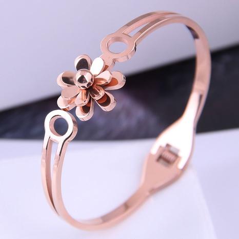 Korean fashion titanium steel simple flower bracelet NHSC314577's discount tags