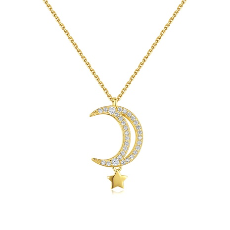 S925 silver inlaid zirconium moon necklace  NHLE314024's discount tags