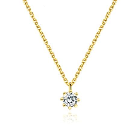 S925 Silber einfache vergoldete Zirkonkette mit sechs Klauen NHLE314028's discount tags