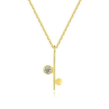 S925 Silber Zirkon vergoldet einfache asymmetrische Halskette NHLE314035's discount tags