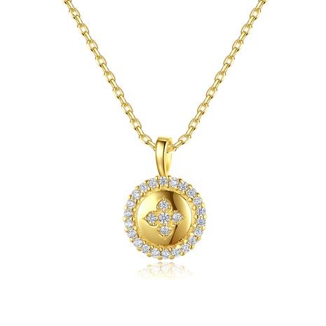 Collar de diamantes con cruz redonda geométrica de plata S925 NHLE314039's discount tags