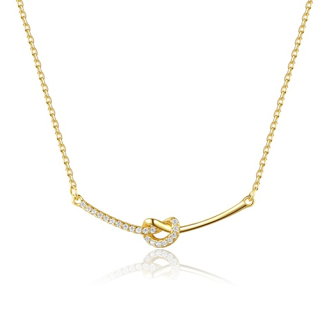 S925 silver zircon knotted necklace NHLE314046's discount tags