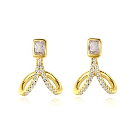 Diamond-studded Simple Leaf Earrings  NHLE314051's discount tags