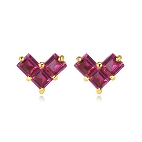 S925 silver diamond red corundum heart earrings NHLE314052's discount tags