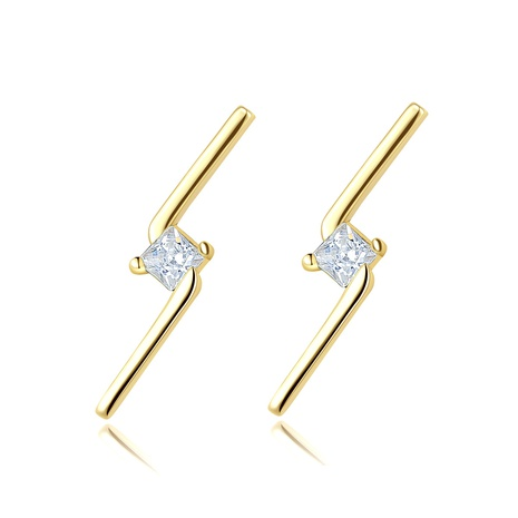 S925 Silver Fashion Simple Diamond Lightning Stud Earrings NHLE314056's discount tags