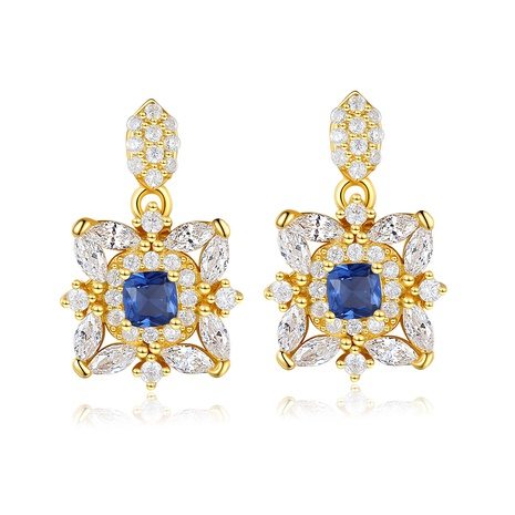 S925 silver retro inlaid artificial sapphire earrings  NHLE314059's discount tags