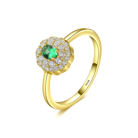 S925 silver fashion artificial emerald ring NHLE314060's discount tags