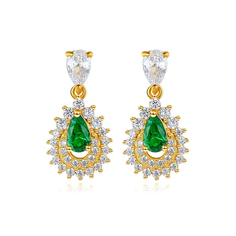 925 silver drop-shaped emerald earrings  NHLE314062's discount tags