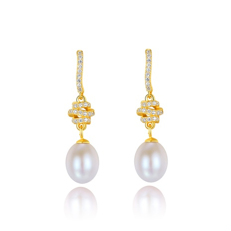 925 silver vintage zircon pearl long earrings NHLE314065's discount tags